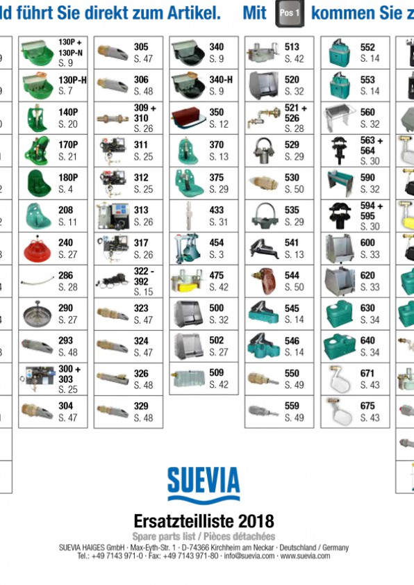 Suevia onderdelenlijst