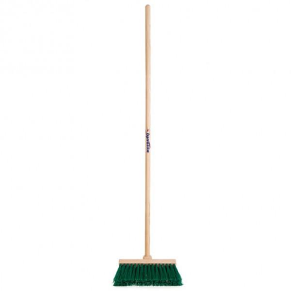 Borstel 'Yardmaster Broom' groen PE 32cm met steel 135cm Fynalite