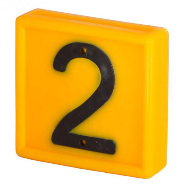 Nummerblokje 48x46mm voor halsmarkering '2'