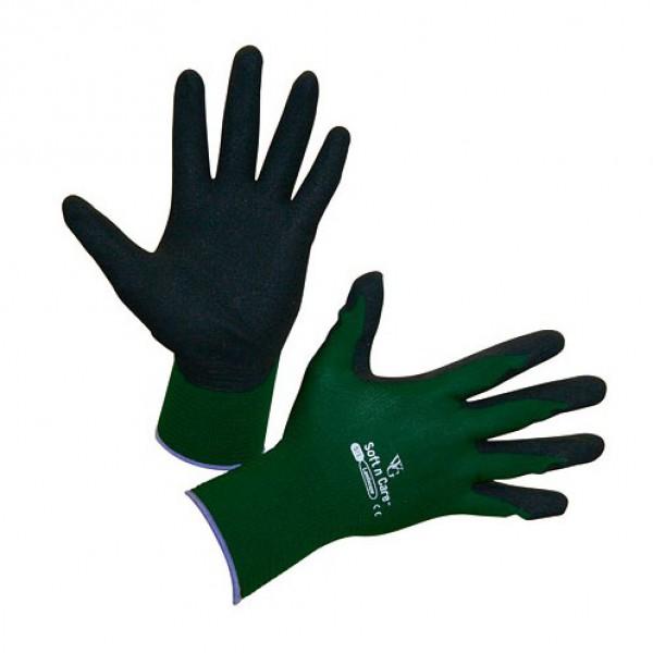 Handschoenen 'Soft N Care Landscape' groen - mt 8/M
