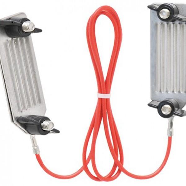Verbindingskabel voor lint met RVS klemmen, blister 1 stuk