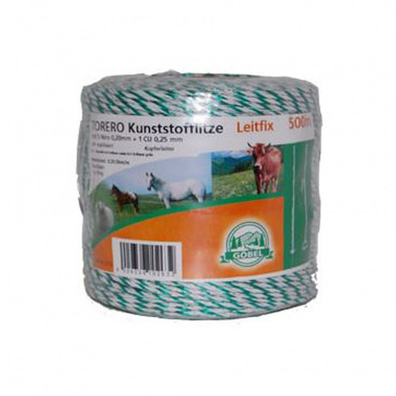 Kunststof schrikdraad 'Torero-Leitfix' wit/groen 500 meter Göbel