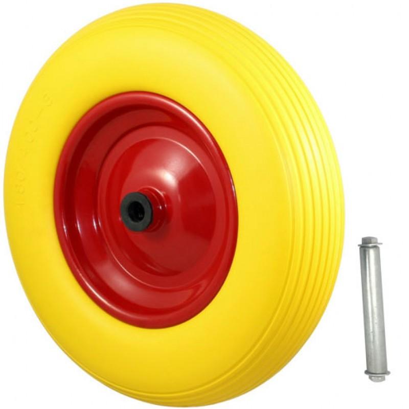 Kruiwagenwiel compleet PU 4.00-4.8 geel inclusief as 20mm