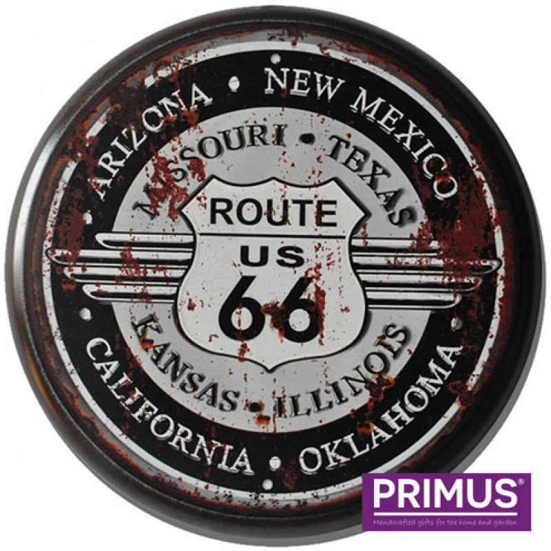 Route 66 Metal Circle Plaque Primus