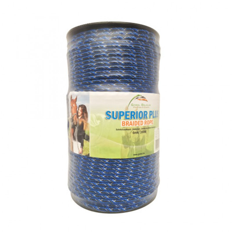 Schrikdraadkoord 'Superior Plus' Braided Rope Black & Blue - 6mmx200m