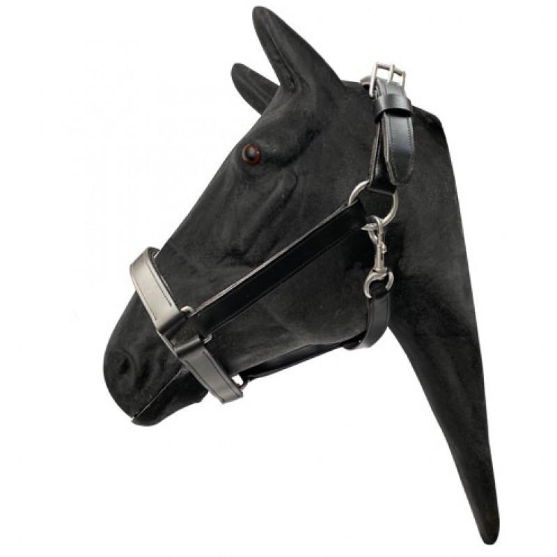 Lederen halster voor trekpaarden 2x verstelbaar 'Cold blood Black'