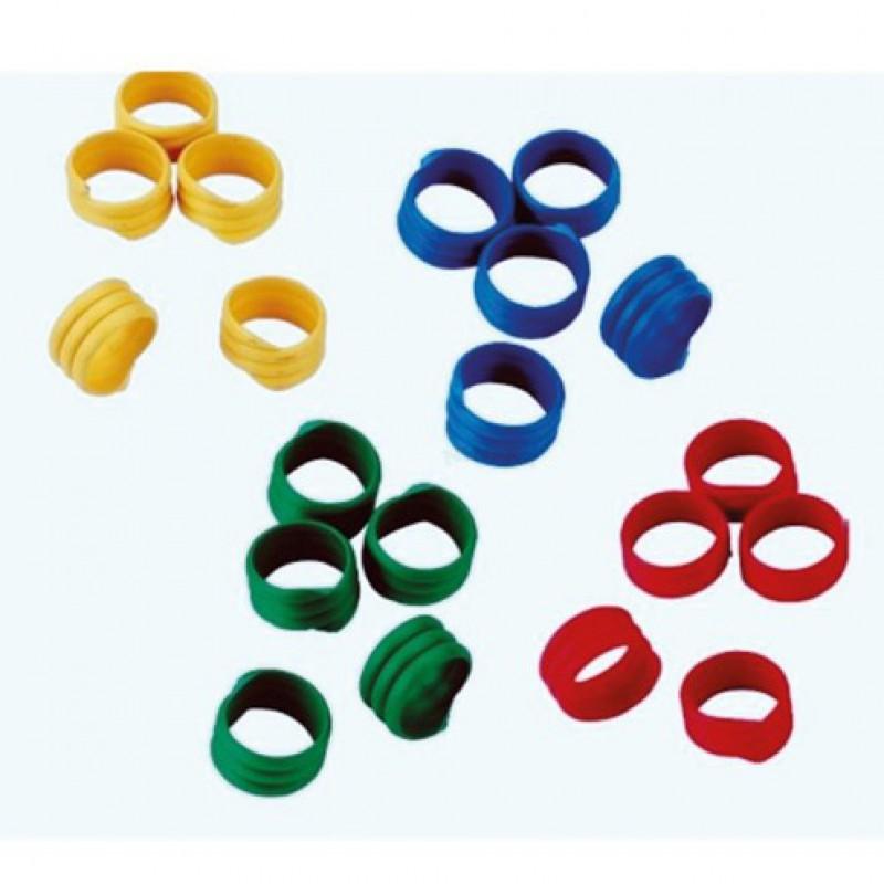 Spiraalringen voor kippen Ø 16mm 20x rood, 20x blauw, 20x groen, 20x geel
