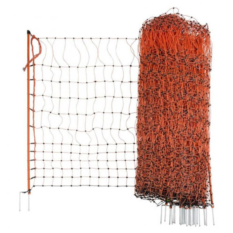 AKO 112/2 oranje afrasteringsnet voor pluimvee, elektrificeerbaar 50m