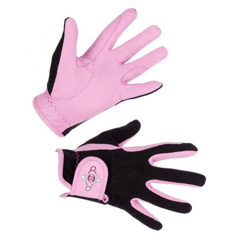 Paardrijhandschoen 'Lilli Starlight' Black/Pink