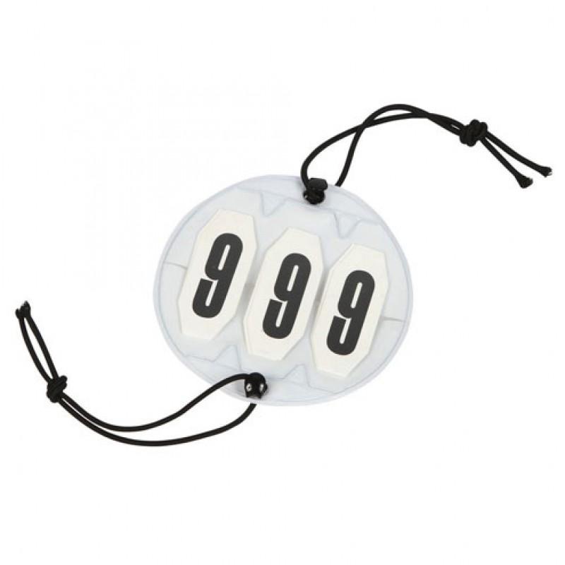 Startnummers rond, 3-cijferig, Ø 9cm wit/zwart