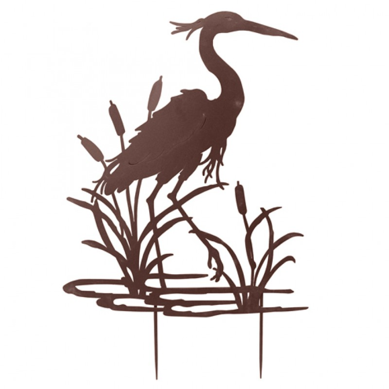 Heron Garden Silhouette with stake in Rust Primus