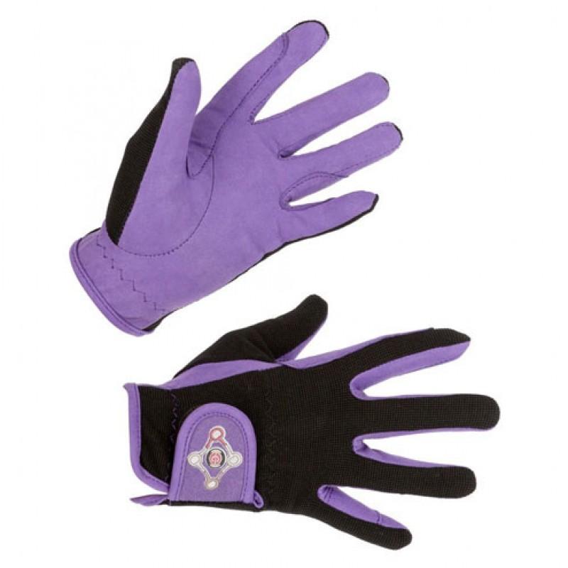 Paardrijhandschoenen 'Lilli Starlight' Black/Purple