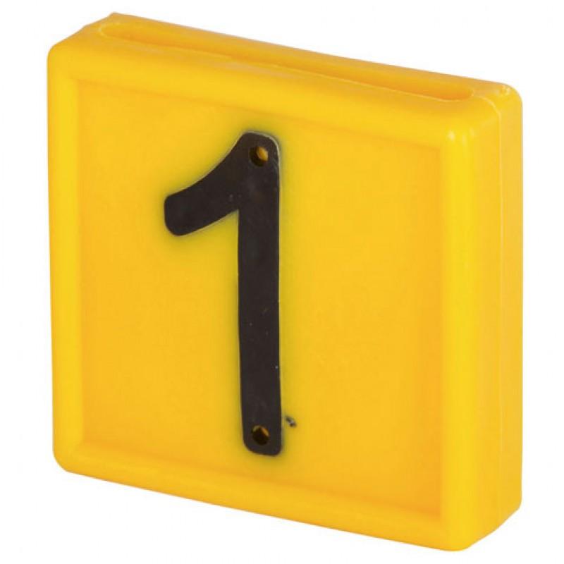 Nummerblokje 48x46mm voor halsmarkering '1'