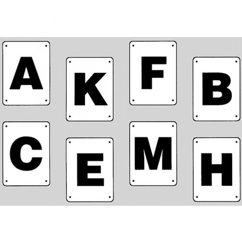 Dressuurletters kunststof 30 x 20cm, set 8 stuks (A, B, C, F, M, E, K, H)