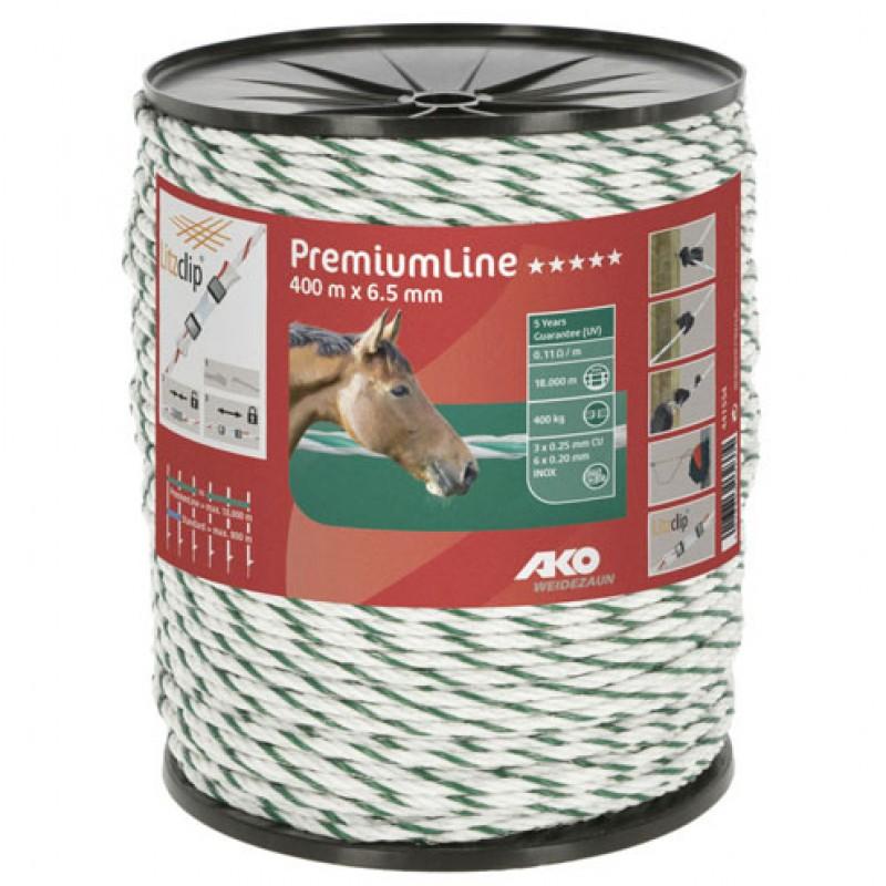 Schrikdraadkoord PremiumLine wit/groen 6,5mmx400m AKO