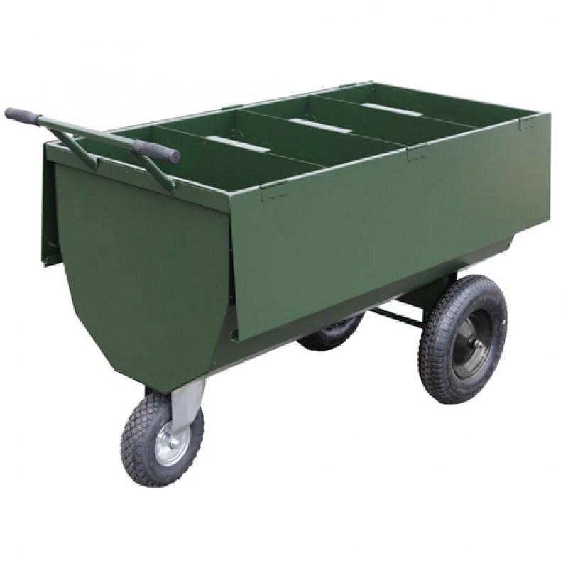 Voerwagen metaal met deksel 310 liter