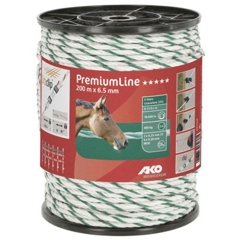 AKO Schrikdraadkoord 'PremiumLine' wit/groen 6,5mmx200m