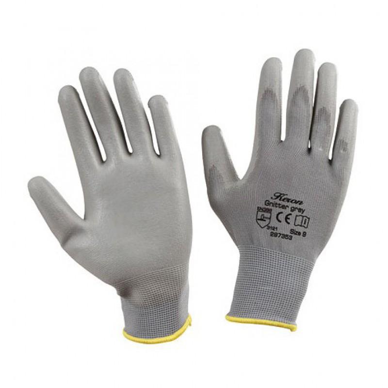 Handschoenen 'Gnitter' grijs mt 9/L