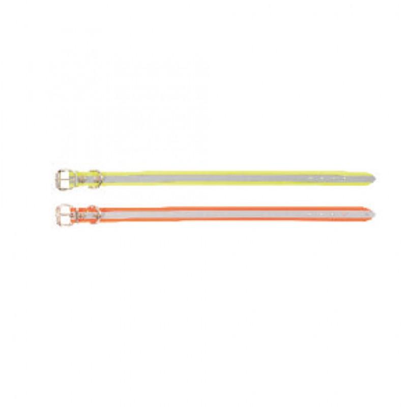 Halsband met rolgesp en reflecterende strepen 25mmx55-65cm