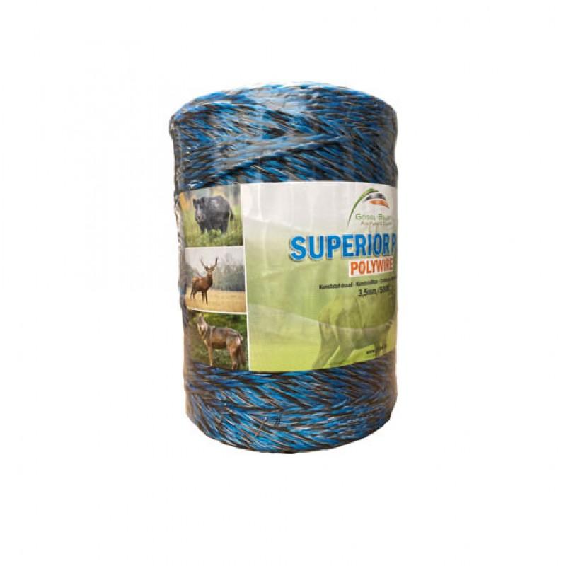 Kunststof schrikdraad 'Superior Plus' 3,5mm x 500m blauw/zwart Göbel