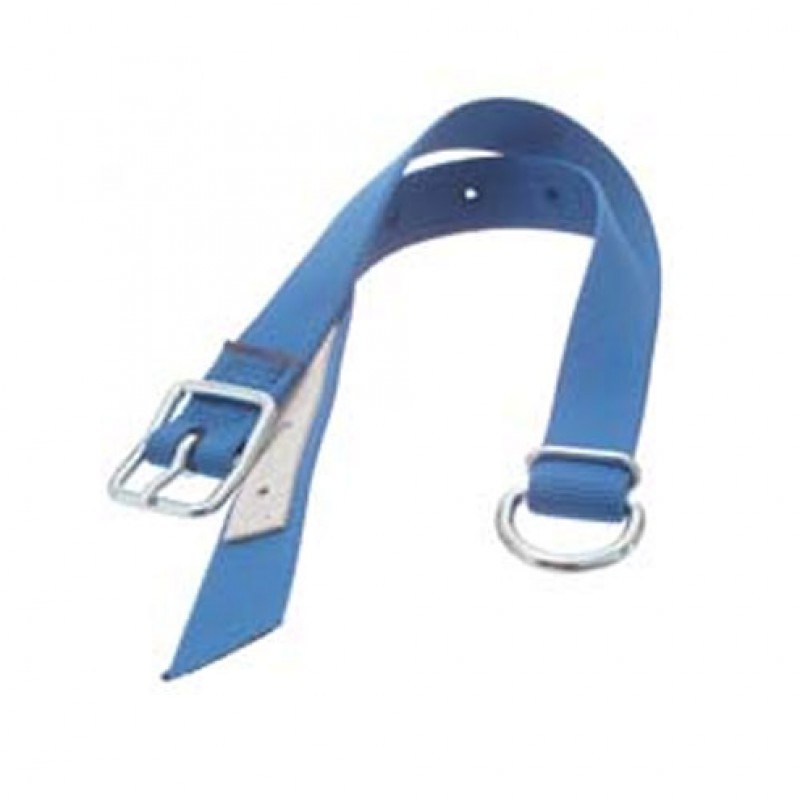 Nylon halsriem met D-ring blauw 130cm