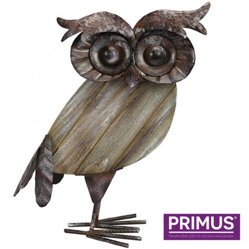 Rustic Wood and Metal Owl Primus