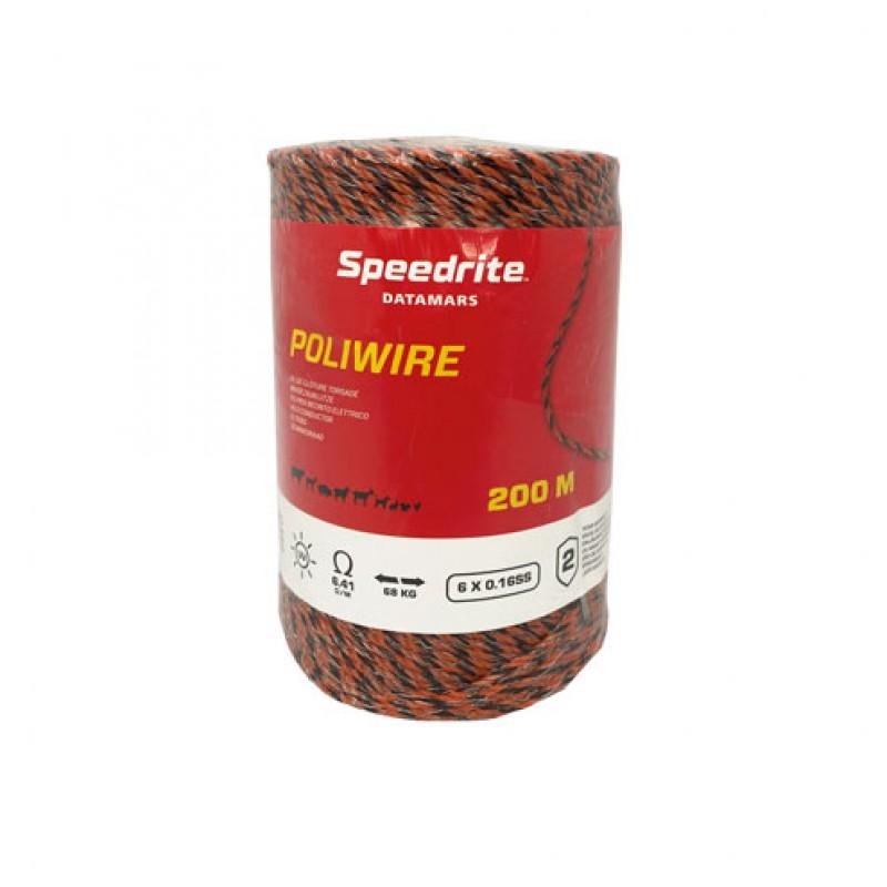 Kunststof schrikdraad 'Poliwire' Zwart/Oranje 200meter/6x0,16mm Speedrite
