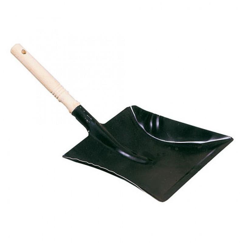 Blik, zwart met houten handvat