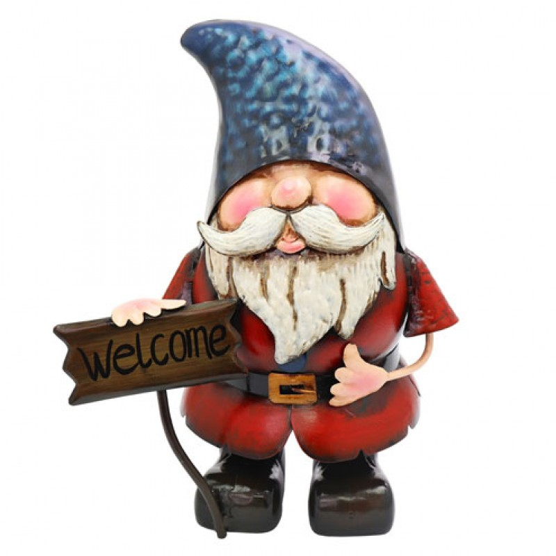 Metal Gnome with Welcome Sign Primus