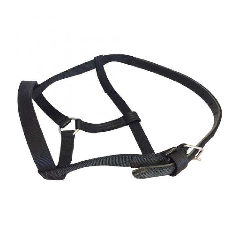 Nylon halster voor trekpaarden extra sterk zwart