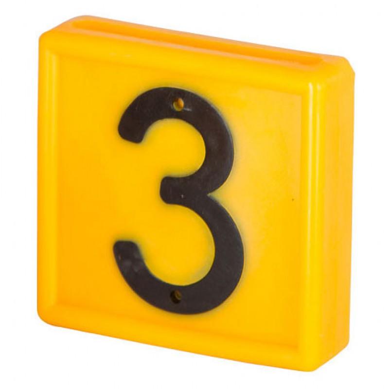 Nummerblokje 48x46mm voor halsmarkering '3'