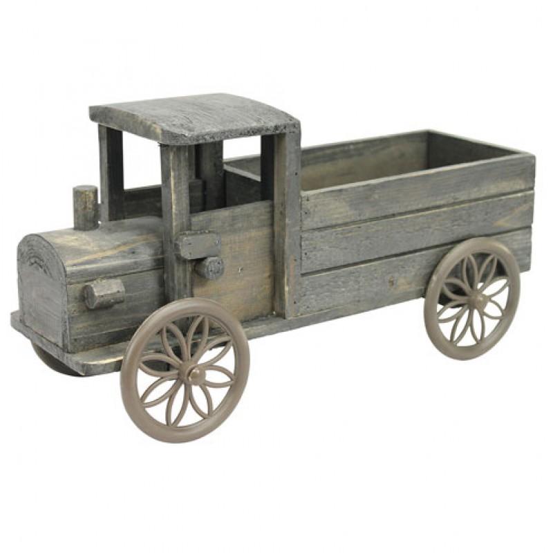 Dark Wooden Truck Planter Primus