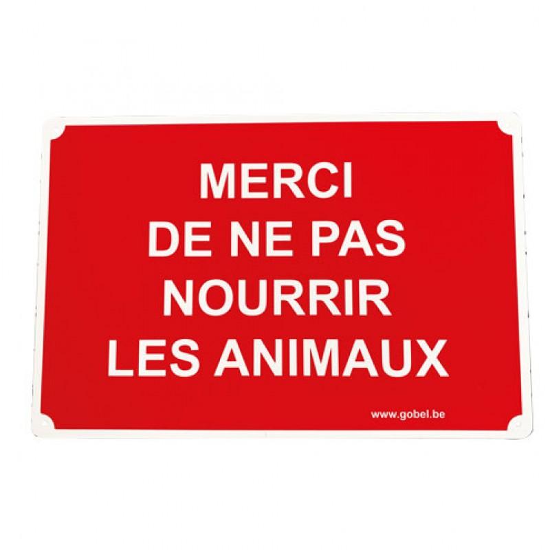 Kunststof bord 30x20cm 'Merci de ne pas nourrir les animaux'