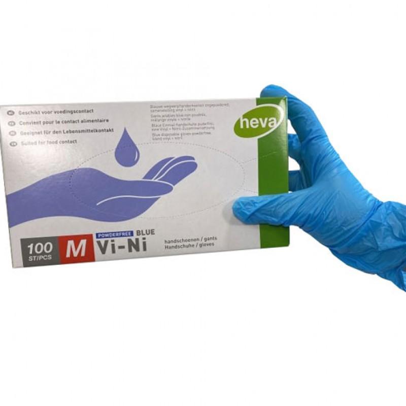 Wegwerphandschoenen Vinyl/Nitril blauw (100st)