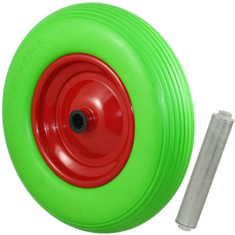 Kruiwagenwiel compleet PU 4.00-8 groen inclusief as 25mm