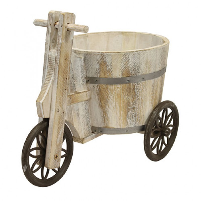 Wooden Tricycle Barrel Planter Primus